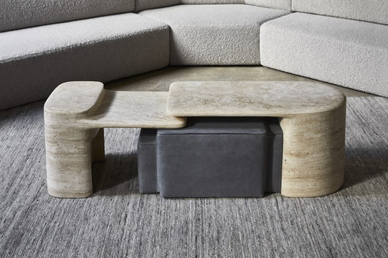 Formation side tables made from travertine and designed by Dan Yeffet for Collection Particuliere