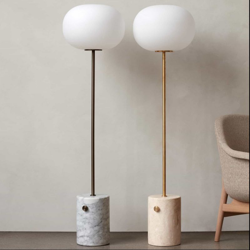 JWDA floor lamps by Menu with a travertine and white marble base