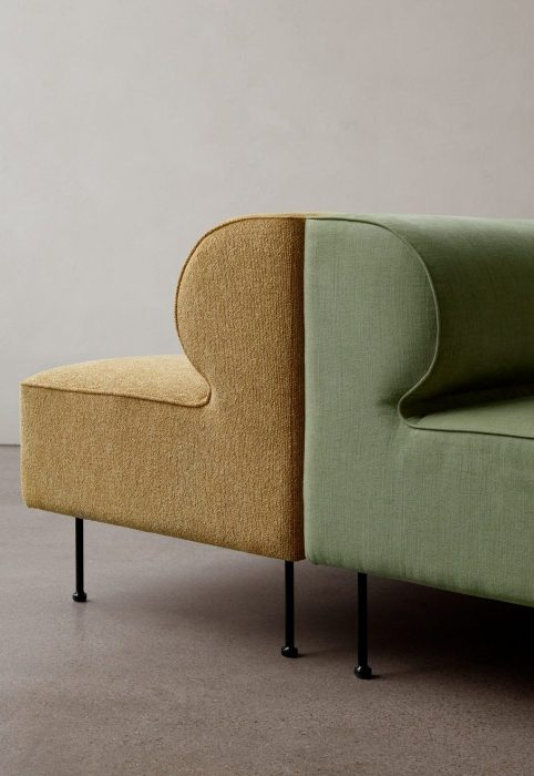 Eave Dining Sofas from Menu in green and yellow