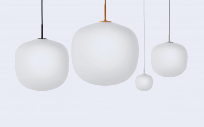 Four Rime glass pendants in different sizes from Muuto