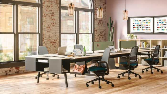 Office with Steelcase furniture and desk