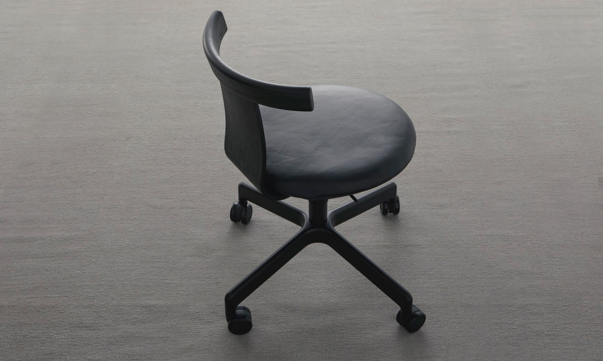 Black Jiro Swivel Chair from Resident and with upholstered seat and castors