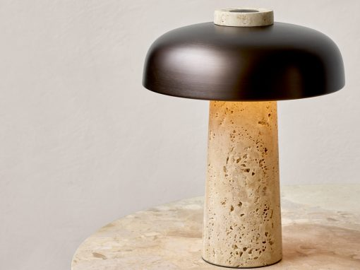 Menu Reverse Table Lamp with travertine and bronze