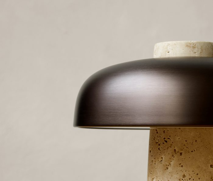 Lampshade made from brushed bronze of the Reverse table lamp by Menu
