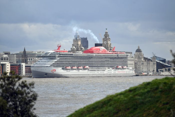 The Scarlet Lady cruise ship docking in Liverpool